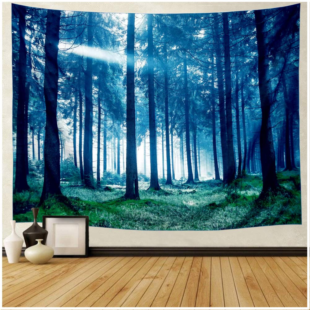 DIPPERION Forest Tapestry Blue Misty Forest with Sunbeams Tapestry Trees Landscape Wall Tapestry 3D Forest Tree Tapestry Wall Hanging Sunny Forest Wall Art Hippy Boho Gypsy Tapestry