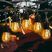 Fochea Led-lichtsnoer voor buiten, 15 m, IP65 waterdicht, met 17 x 2 W led-gloeilampen voor bruiloft, feest, binnen- en…