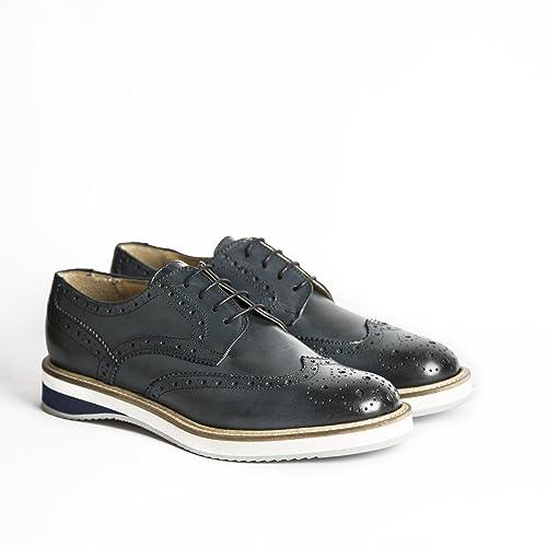 Scarpe stringate uomo in pelle modello Derby di colore blu con gomma bicolore  scarpe artigianali uomo 9b68360d824