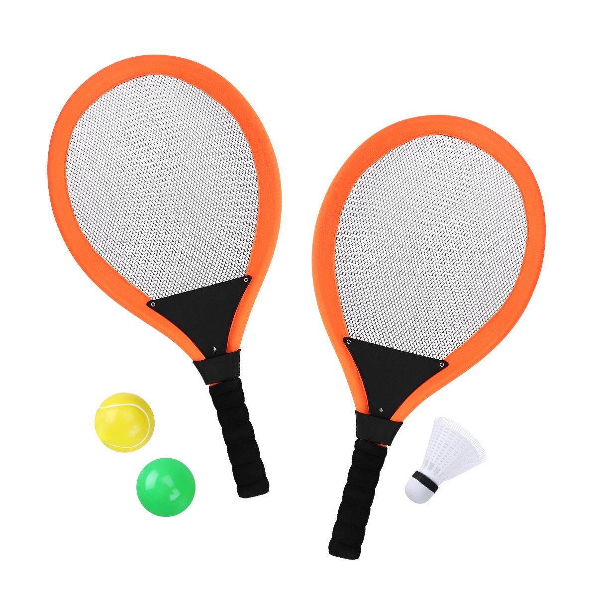 YeahiBaby Raquetas de Tenis de bádminton con Bolas Playas de jardín al Aire Libre Deporte Juguete de Juego para niños