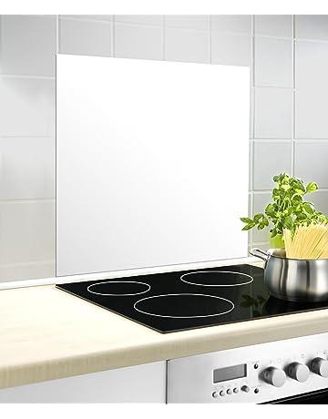 Wenko Cristal Posterior Protección contra Salpicaduras, Vidrio Templado, Color Blanco, 70 x 60