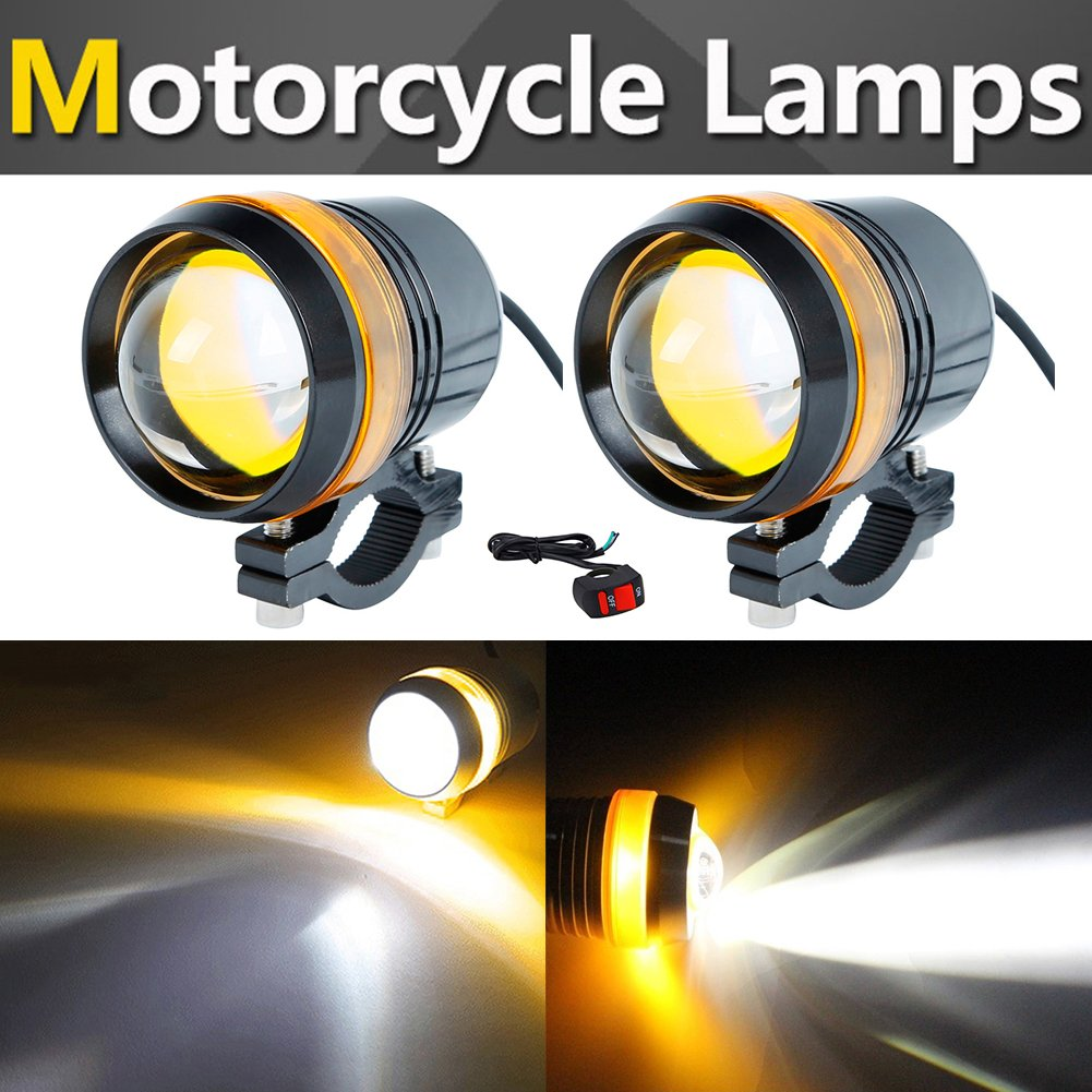 TABEN Motorcycle Spotlight Headlight Super Bright CREE U3 10W LED Work Light Driving Fog Spot Lamp Red Angel Eye Universal for All Motorcycle ATV Truck with 1pcs ON//OFF Button Switch