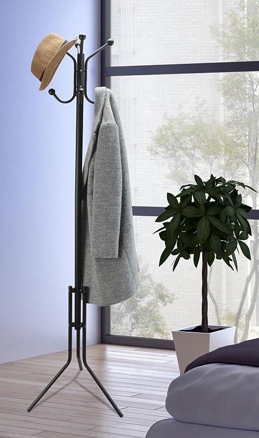 Vinsani Porte-manteau sur pied 8 crochets Noir: Amazon.es ...