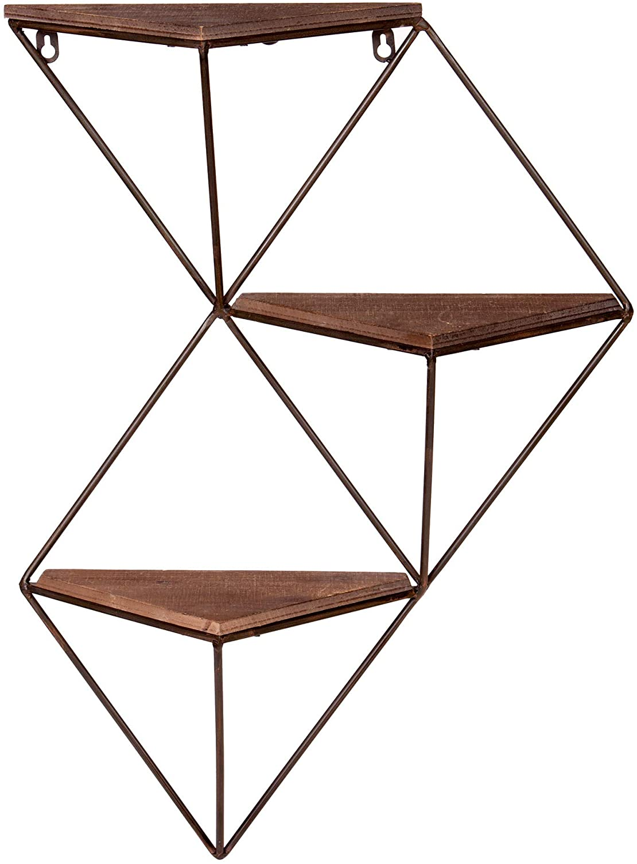 Three Step Wood and Metal Geometric Triangle Wall Shelf