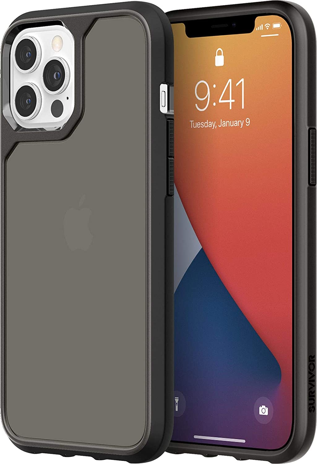 Griffin Survivor GIP-053-BLK Military Standard Strong Case for Apple iPhone 12 Pro Max (6.7 Inches) [3 m Dropproof I Shock Absorbing Corners I Qi Compatible Mobile Phone Case] (Transparent Black)