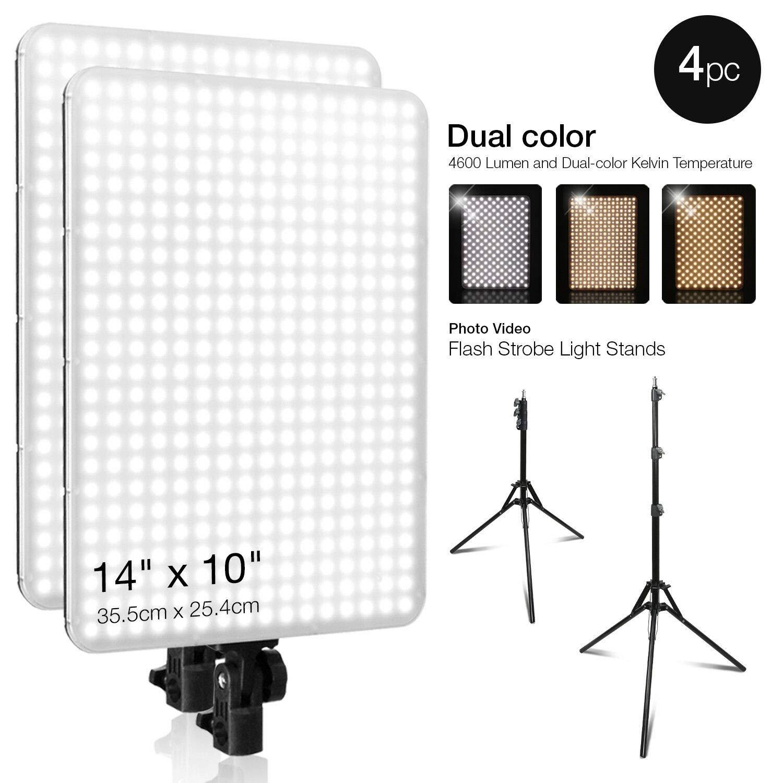 oldzon 504 LED Lighting Kit Photo Studio Barn Door Light Panel w/Stands, Gel Filters with Ebook by oldzon
