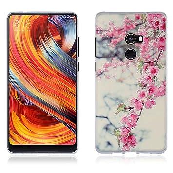 FUBAODA Funda Xiaomi Mi Mix 2 Mix2 /EVO Carcasa Protectora de Silicona Flores de Colores Vivos,Carcasa Completamente Resistente para Xiaomi Mi Mix 2 ...