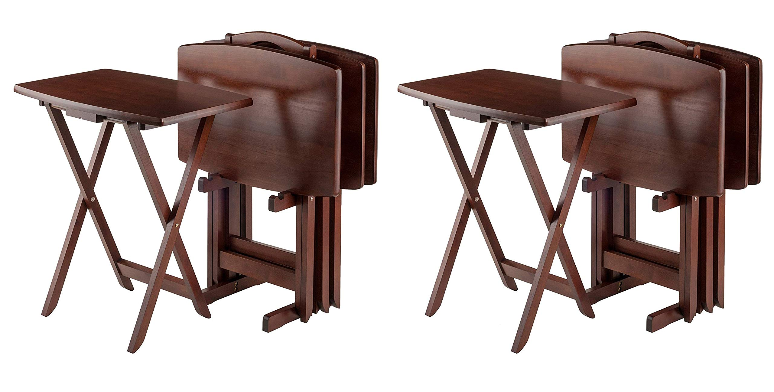 Winsome Oversize Snack Table Set, Walnut (2 Sets) by Winsome Wood