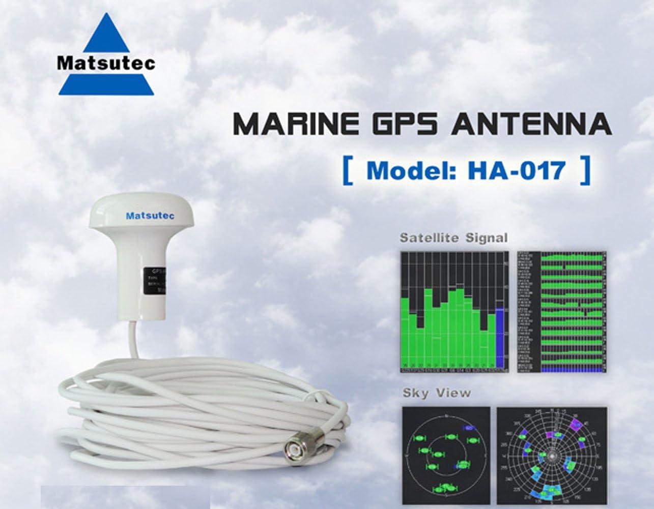 Matsutec HA-017 Marine GPS Antena con Cable de 10m