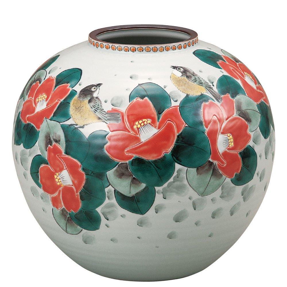 九谷焼 陶器 花瓶 椿に鳥 AK5-1331 B071WWY219