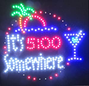 "Decorative Novelty LED Signs for Wall Decor, Man Cave, Wet Bar Accessories (19"" L x 19"" W x 1"" H, 5:00 Somewhere)"