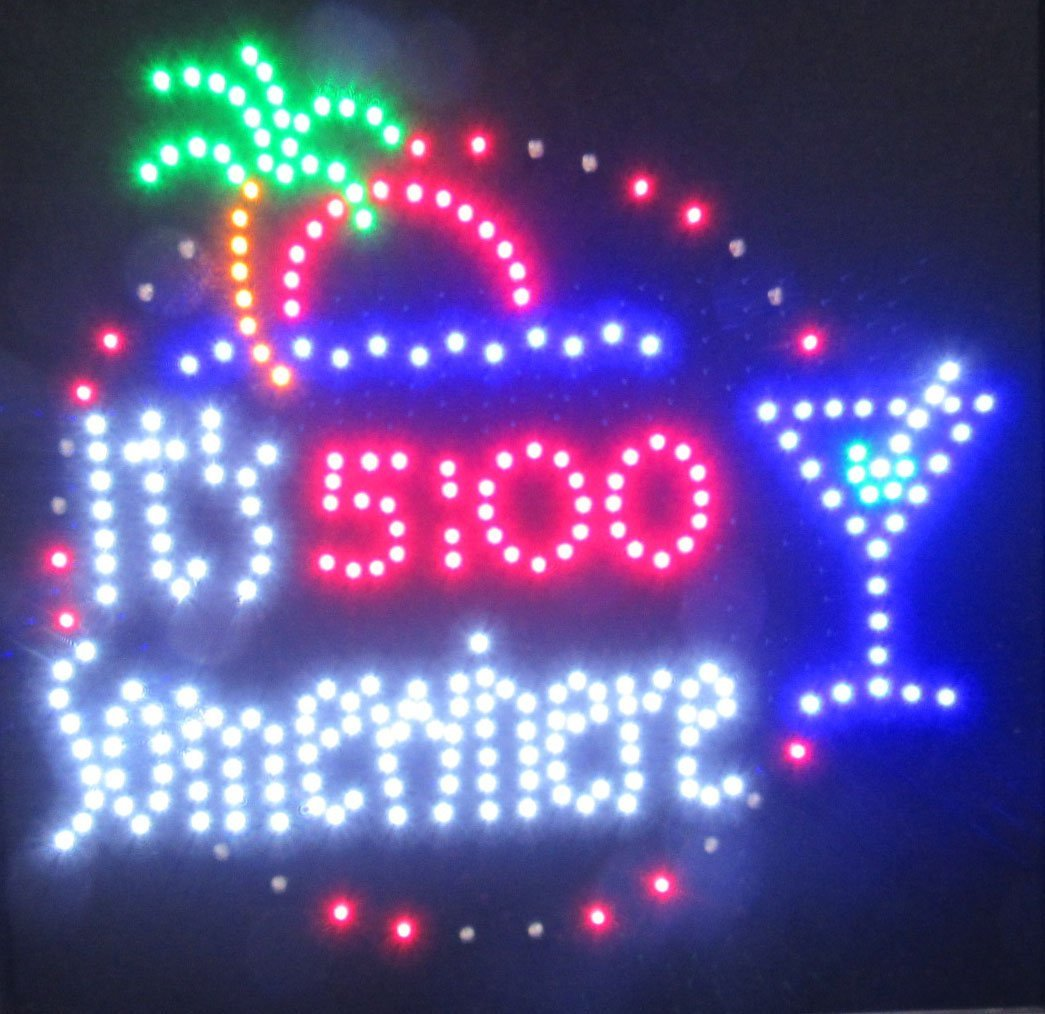 Decorative Novelty LED Signs for Wall Decor, Man Cave, Wet Bar Accessories (19'' L x 19'' W x 1'' H, 5:00 Somewhere)