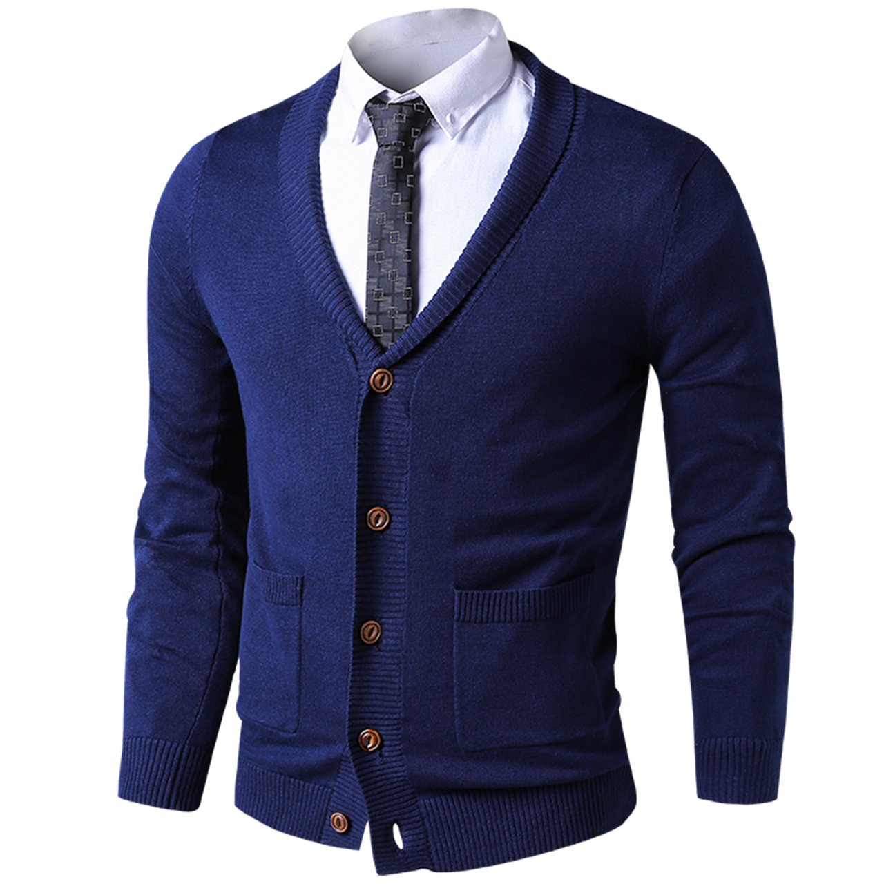 LTIFONE Mens Slim Fit Soft Cable Knit Shawl Collar Button Down Cardigan Sweater with Ribbing Edge(Blue,L)