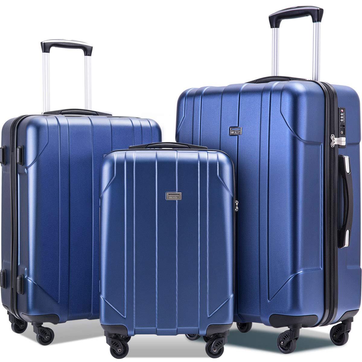 Merax Luggage Sets with TSA Locks, 3 Piece Lightweight P.E.T Luggage 20inch 24inch 28inch by Merax