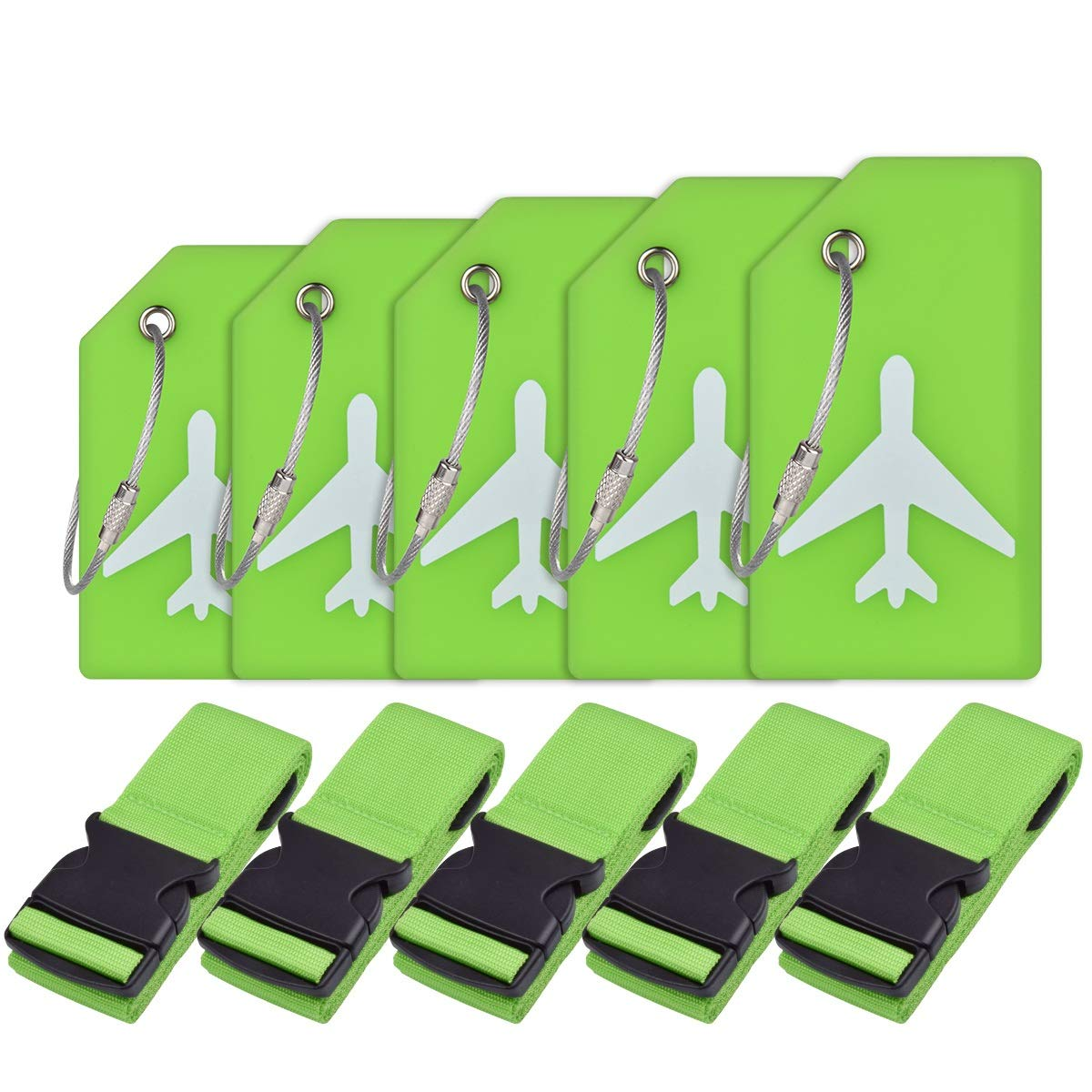 Luggage Accessories-Luggage Straps/Luggage Tags By Ovener (Green 5 Set) by Ovener