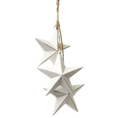 Heaven Sends Hanging Wooden Stars Decoration 16 X 8 X 4cm White