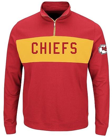 Kansas City Chiefs NFL Mens Majestic Goal Line 1 4 Zip Long Sleeve  Sweatshirt Red c302f8ce7