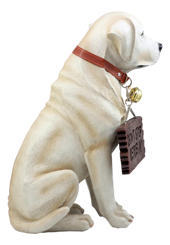 Yellow Ebros Gift Lifelike Pet Pal Labrador Retriever Statue 13.25 H Golden Retriever Dog with Jingle Collar and Greeting Sign As Patio Welcome Home Decor Sculpture