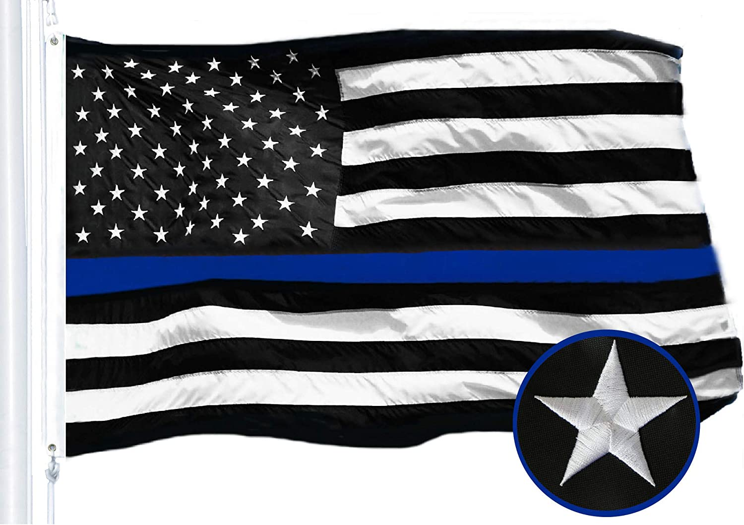 2/' x 3/' Polyester USA American Flag The Thin Blue Line Polyester Hanging Flag