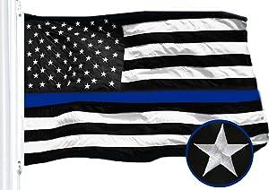 G128 - Thin Blue Line Embroidered U.S. American Flag 2X3 FT Brass Grommets Honoring Men Women Law Enforcement Black White Blue US Flag