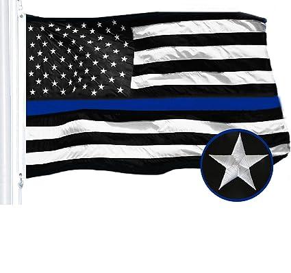 fca970c90209 G128 - Thin Blue Line Embroidered U.S. American Flag 3X5 FT Brass Grommets  Honoring Men Women
