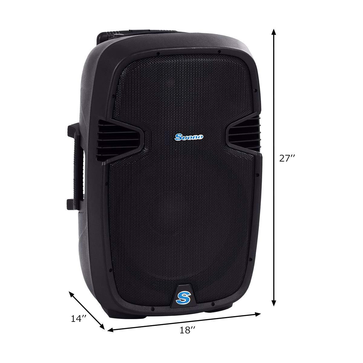 Suono Powered Speakers, 2-Way Full Range Portable DJ/PA Speaker System Set With Microphones/USB/Bluetooth (15'' 1000W) by Suono (Image #7)