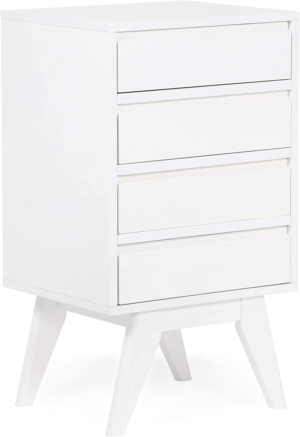 SIMPLIHOME Draper 32 inch H x 18 inch W Four Drawer Floor Storage Cabinet in Pure White with Storage,4 drawers, for the Bathroom, Mid Century Modern