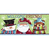 Evergreen Welcome Holiday Friends Decorative Mat Insert, 10 x 22 inches