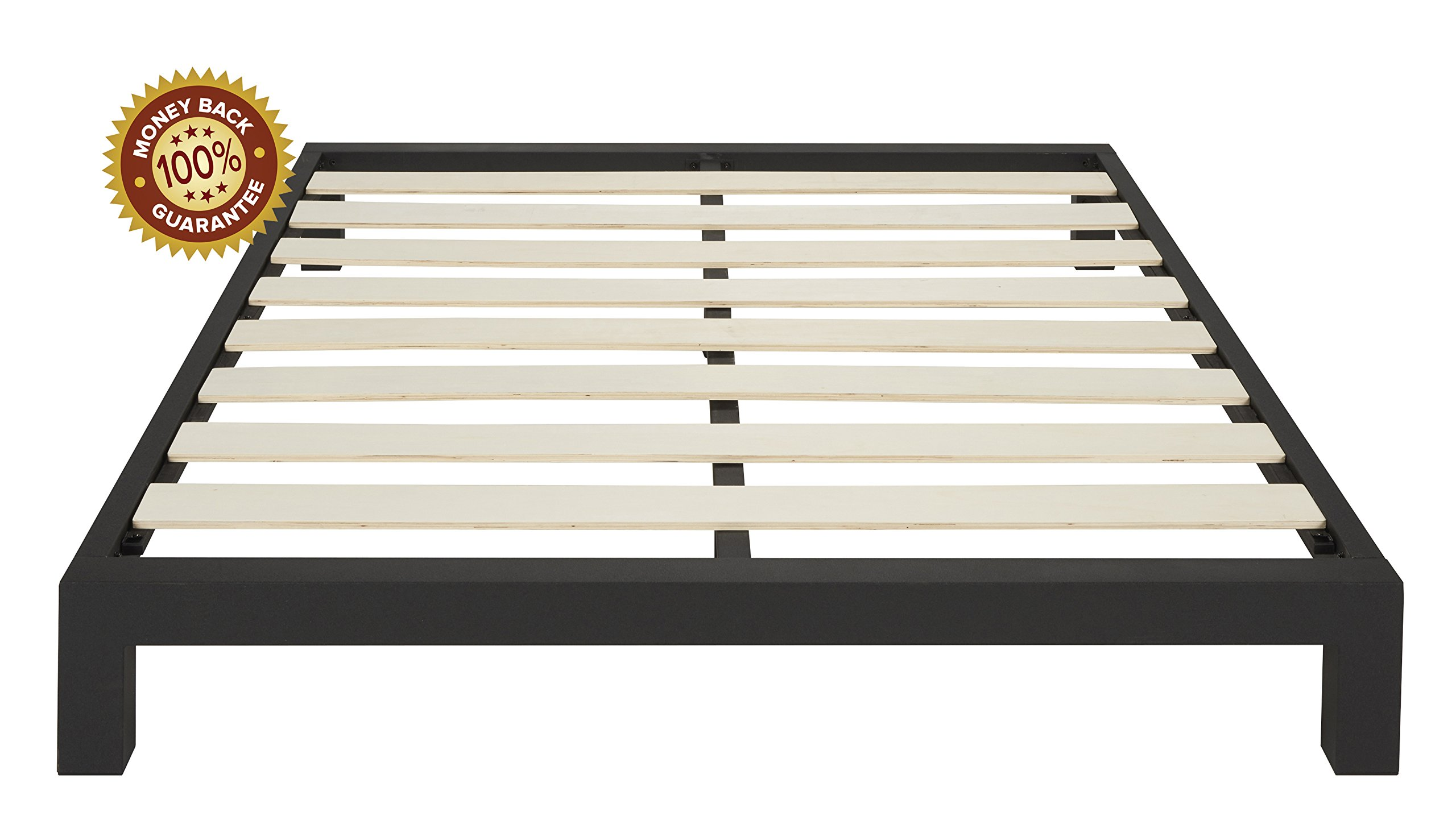 In Style Furnishings Stella Modern Metal Low Profile Thick Slats Support Platform Bed Frame - Queen Size, Black by In Style Furnishings
