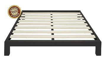 stella metal platform bed frame modern finish thick and wide slats black
