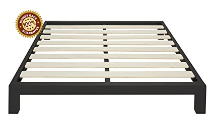 In Style Furnishings Stella Modern Metal Low Profile Thick Slats Support  Platform Bed Frame   King
