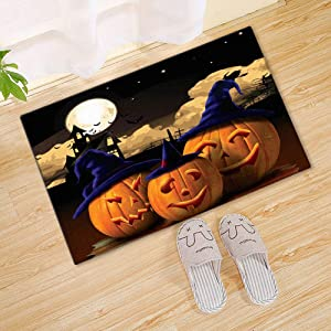 "Funny Halloween Doormat Pumpkins in Witch Hat Door Decoration Idea Welcome Mat Rubber Washable Indoor/Outdoor Entrance Rug for Home Décor 27.5"" x 17.5"" Inch"