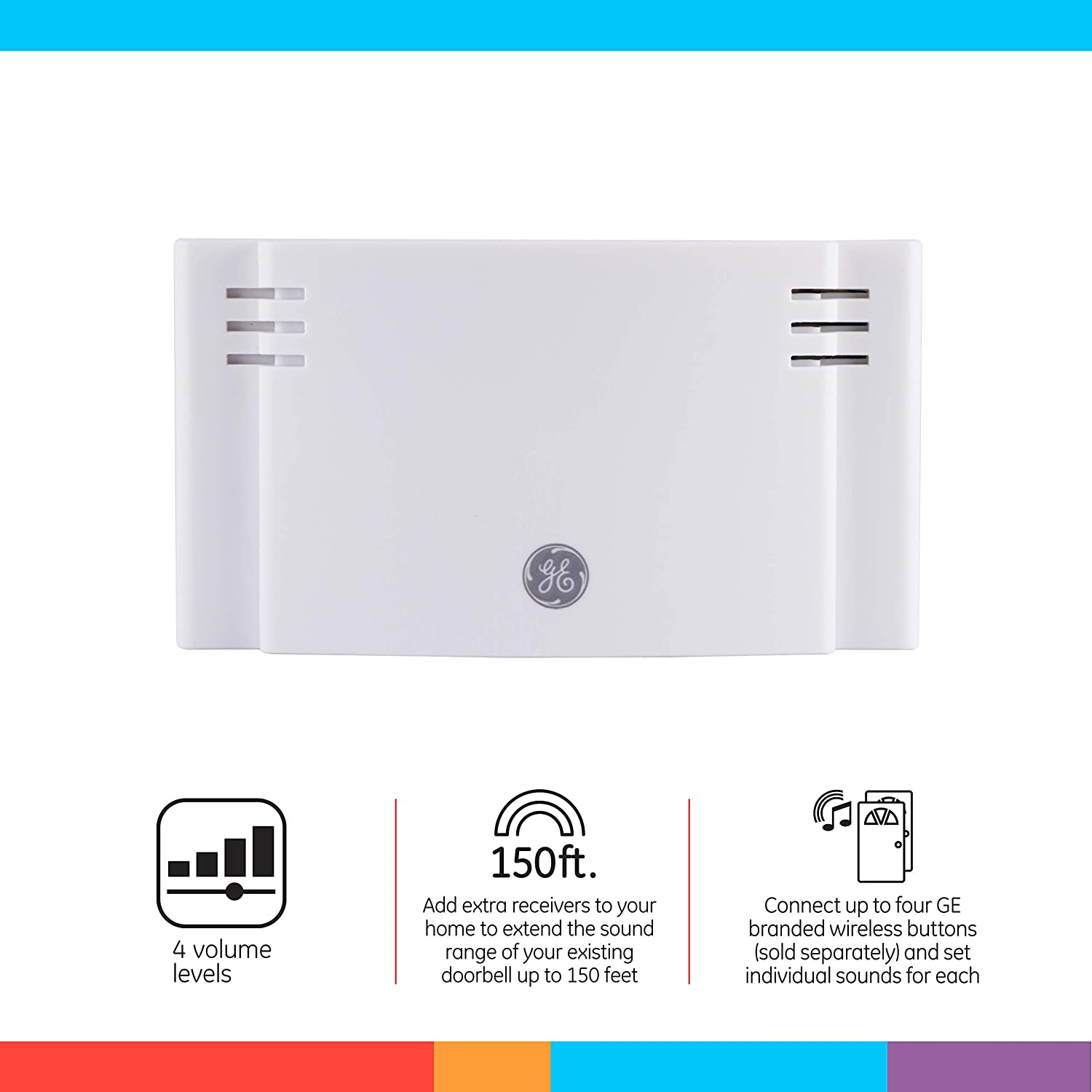 1 Receiver 19297 150-Foot Range 8 Chime Melodies White GE Wireless Doorbell Kit 2 Push Buttons Battery-Operated