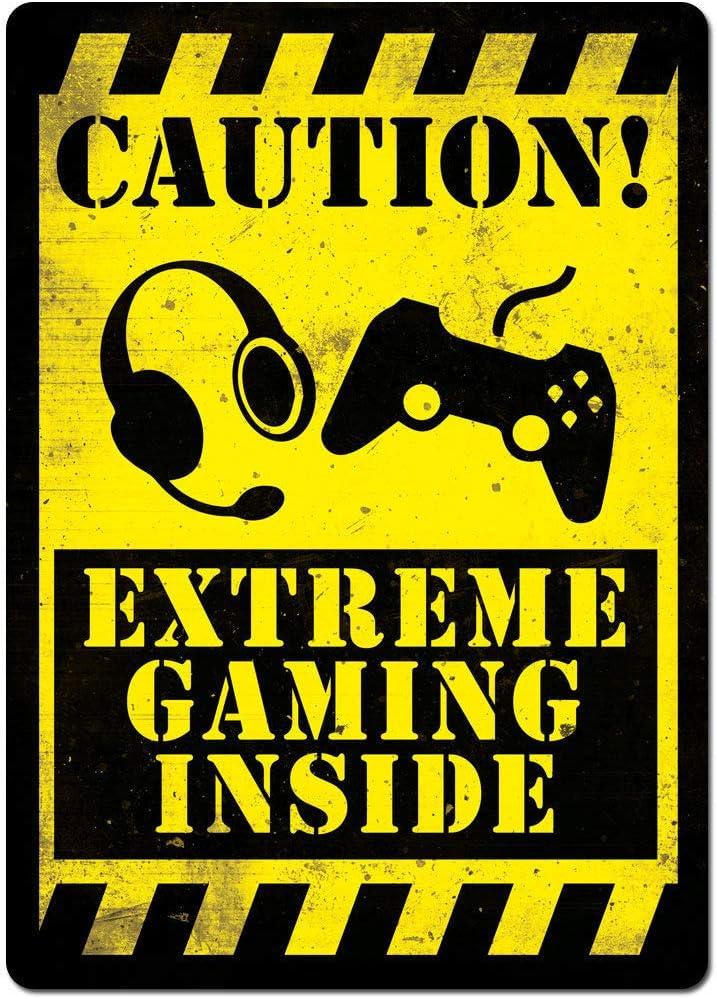 d/écoration Murale 20,3 x 30,5 cm Bar Carlena Danger Gamer Zone Plaque m/étallique Vintage en m/étal pour Magasin