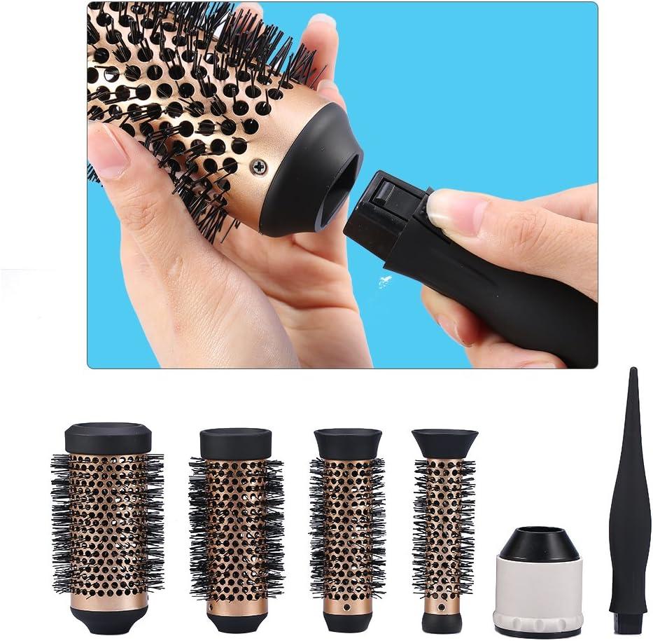 Cepillo redondo para el pelo rizado iónico, cerámica, rodillo de peluquería con 3 cabezales reemplazables.