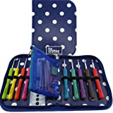 BEST CROCHET HOOK SET WITH ERGONOMIC HANDLES FOR EXTREME COMFORT. Perfect Hooks for people with hand pain problem, Smooth Needles for Superior Results & 22 Knitting Accessories to use with all Patterns & Yarns