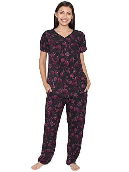 6a78e98a8b83c Clovia Cotton Rich Printed Top & Pyjama Maternity Set: Amazon.in: Clothing  & Accessories