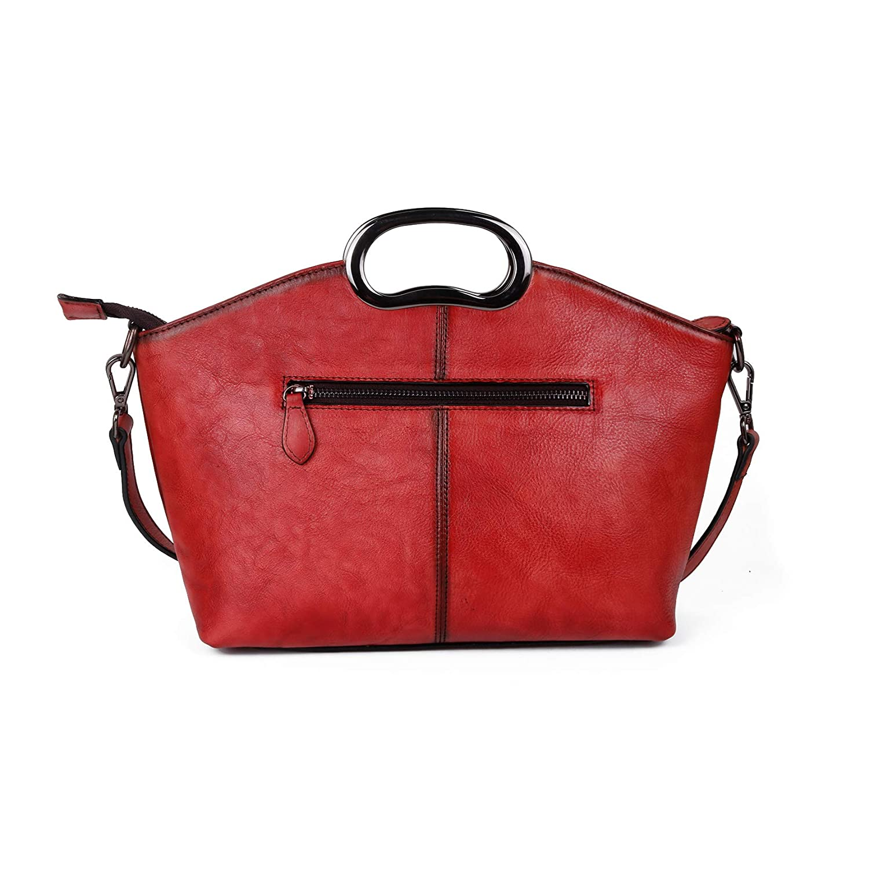 shengweiao kvinnors vintage präglade handväskor tygväskor äkta läder topphandtag över kroppen axelväska Röd