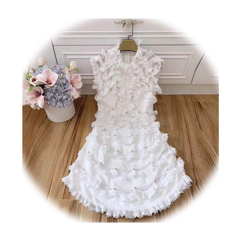 White Dreamedge Elegant Party Dress for Women Sleeveless High Waist Beading Ruffle Dresses Female 2019 Spring Clothes Fashion New