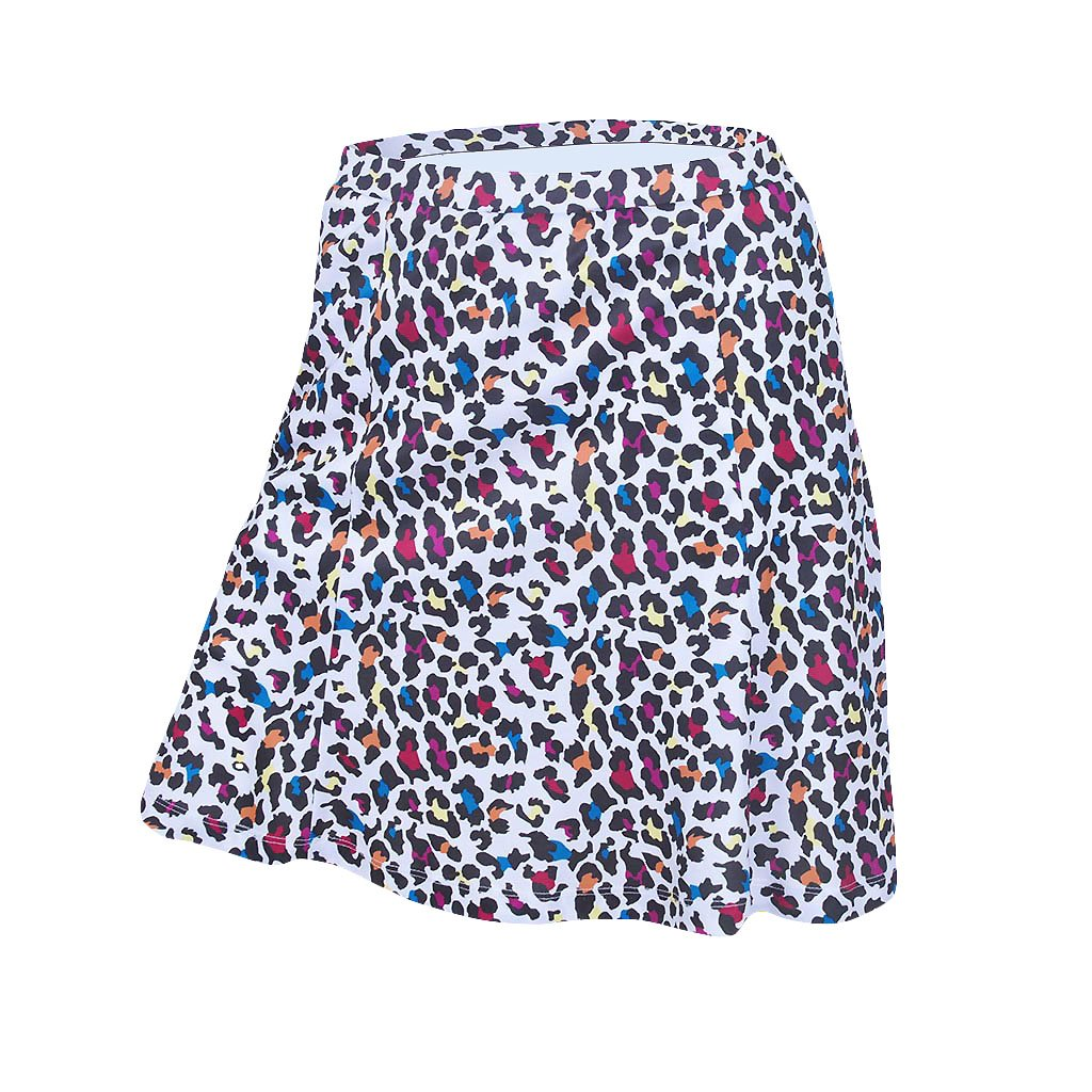 Monterey Club Ladies Dry Swing Mini Leopard Pull on Skort #2926 (White/Mulberry, X-Small) by Monterey Club