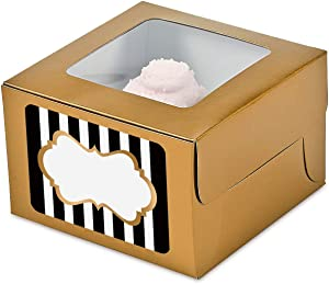 Gold Cupcake Boxes with Sticker Labels - Individual Single Cupcake Boxes With Insert Holders With Black and Gold Foil Stickers - 24 count (Gold) 4 1/2