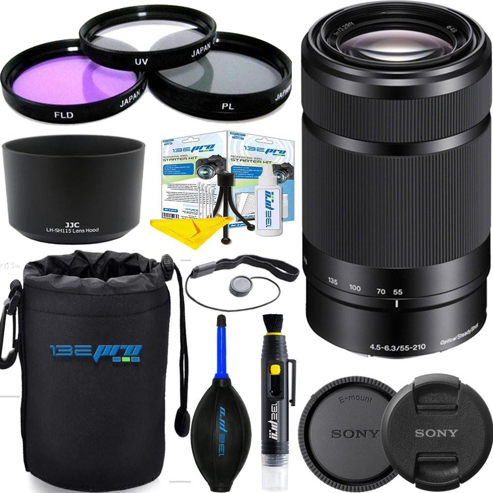Sony E 55-210mm (SEL55210) F4.5-6.3 OSS Lens for Sony E-Mount Cameras (Black) 12 PCS Expo Accessories Bundle. by Deal-Expo