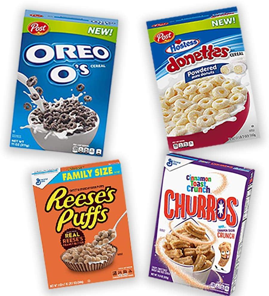 Cinnamon Toast Crunch Churros + Oreo + Hostess Donettes + Reeses Puffs pack cereales: Amazon.es: Alimentación y bebidas
