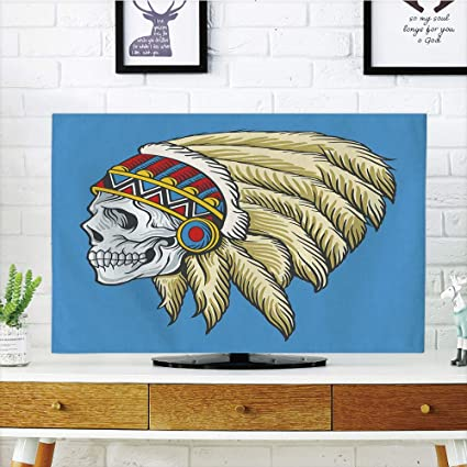 f3beb1a29 iPrint LCD TV Cover Multi Style,Tribal,Native American Dead Skull with  Feathers Tattoo