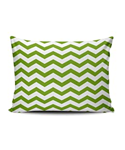 ONGING Decorative Pillowcases Fern Green and White Chevrons Customizable Cushion Rectangle Boudoir Size 12x16 Inch Throw Pillow Cover Case Hidden Zipper One Sided Design Printed