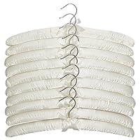 Apex Homeware 10 Pack of High Quaility Ivory Coloured Satin Padded Coat Hangers 43cm, For Dresses, Bridal, Lingerie, Woolen Items etc.