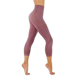 CodeFit Yoga Power Flex Dry-Fit Latest Fade Dye Active Capri with Mesh Compression Pants Workout Leggings (M USA 4-6, CFD27-Mauve (Soled)