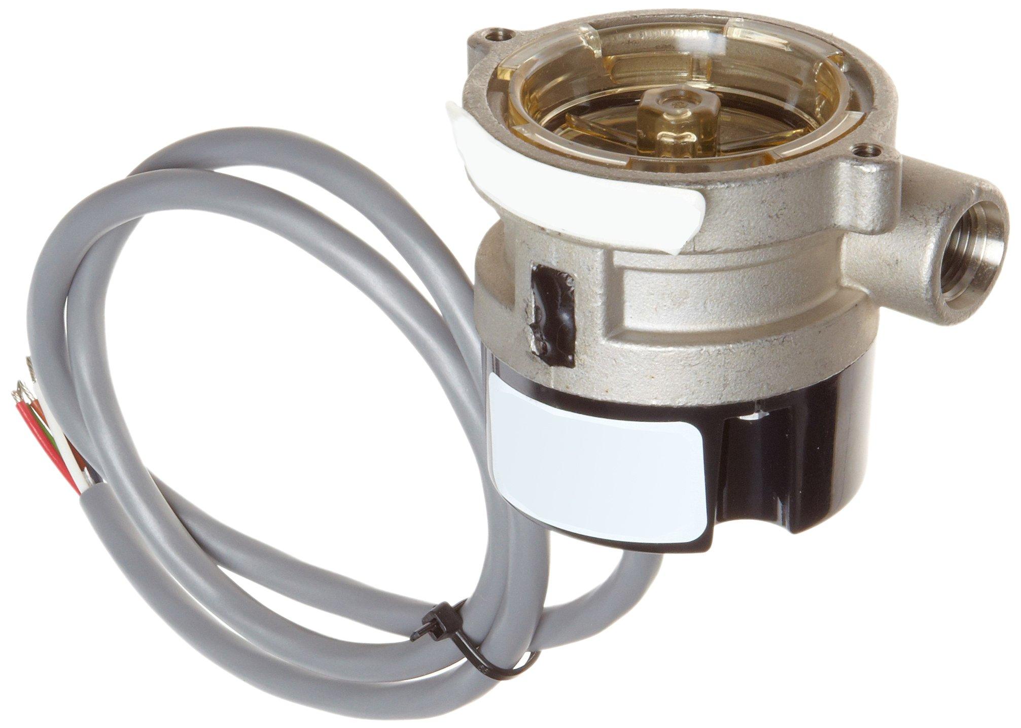 Gems Sensors RFS Series Stainless Steel 316 Flow Sensor Switch, Inline, Rotor Type, 24 VDC Input, 0.1-5.0 gpm Flow Setting Adjustment Range, 9/16''-18 Straight Thread