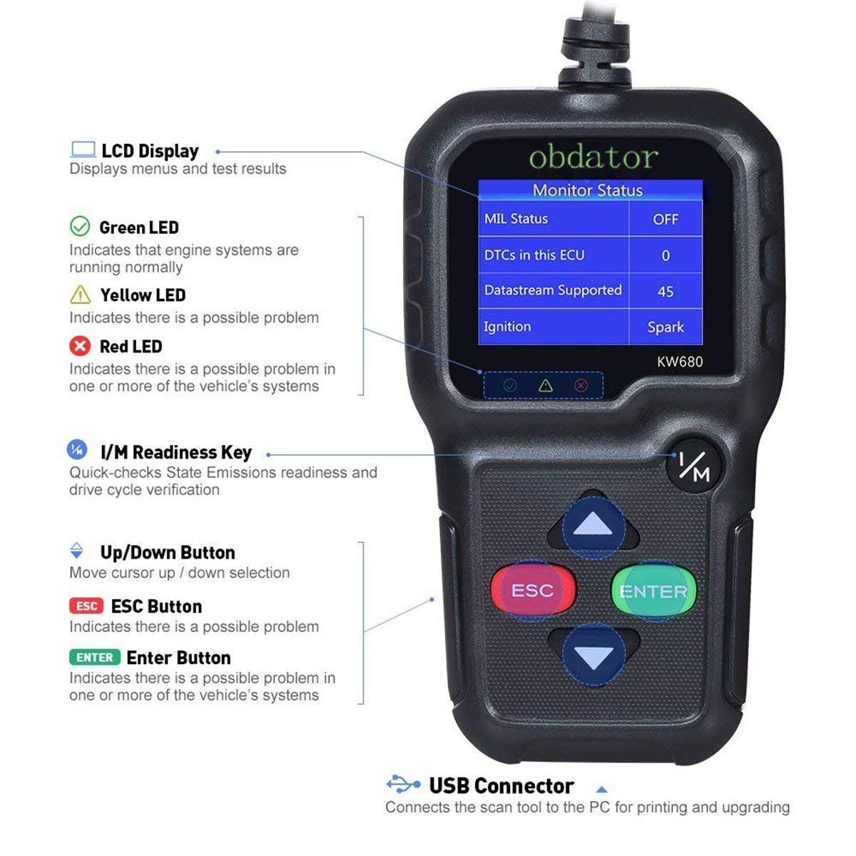 On-Board Monitoring Test O2 Sensor OBDATOR OBDII Automotive Code Reader KW680 OBD2 Diagnostic Full OBD2//EOBD Functions Car Scan Tool Vehicle Engine Fault Scanners with Extra BAT Check