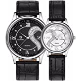 Romantic His and Hers Watches-Pair Hearts Wristwatch for Man Woman,Ultrathin Leather Strap,Set of 2